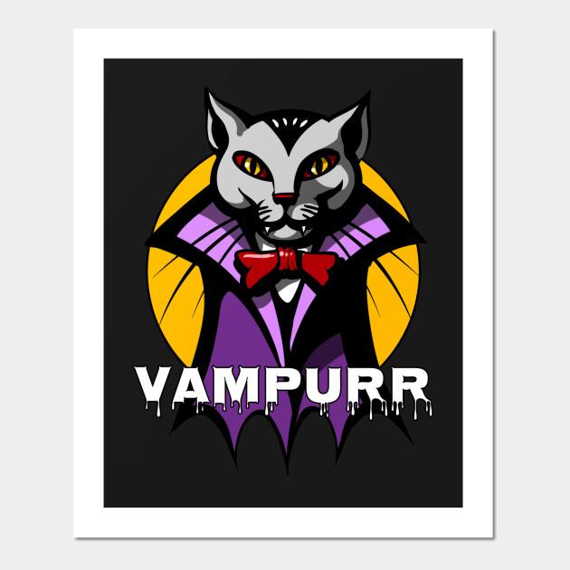 Vampurr Cat Vampire Funny Scary Horror Halloween Bat