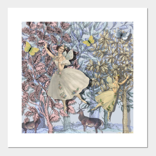 Framed Print Fairy with Animals in a Enchanted Forest Picture Poster Magic