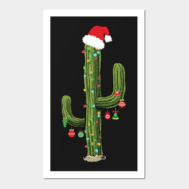 Cactus Christmas Tree.Cactus Christmas Tree Lights Wearing Santa Hat
