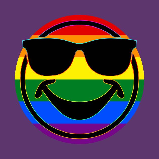 Rainbow Flag Stripes Button COOL SMILEY