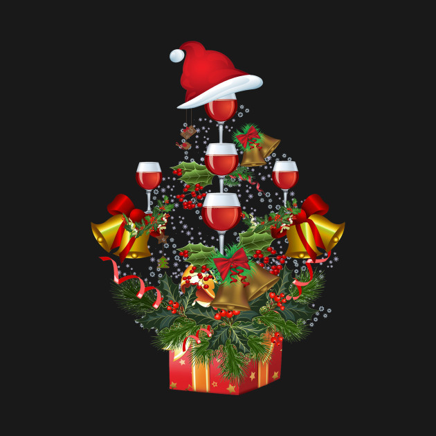 Wine Christmas Tree Shirt.Chill With Wine At Christmas Chill With Christmas Tree Funny
