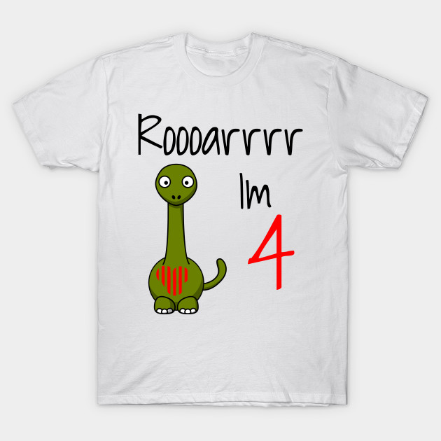 Kids 4 Year Old Birthday Gift T Shirt Dinosaur Tee