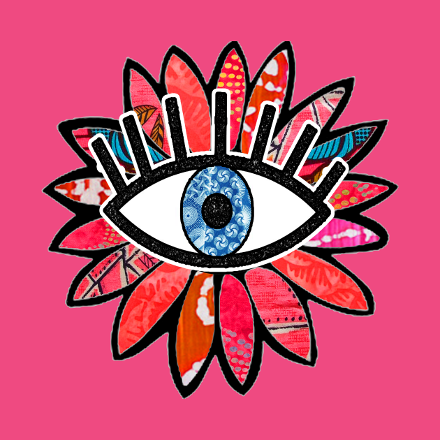 Greek Evil Eye Pink Flower
