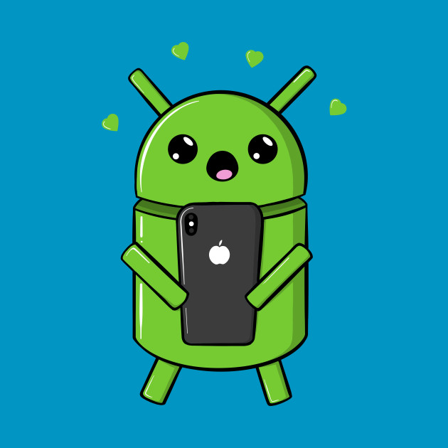 Android Robot In Love With Smartphone