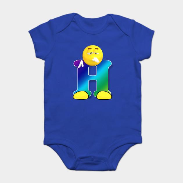 00d6e3100e Letter H Alphabet Smiley Monogram Face Emoji Shirt for Men Women Kids Onesie