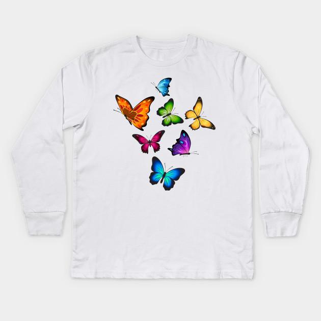 Monarch Butterfly Lover Tee Butterflies Wings Design For Girls Kids Women  Kids Long Sleeve T-Shirt 8631ae26c