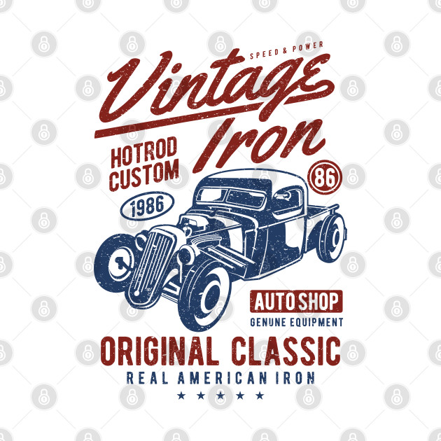 Vintage Iron Hotrod Custom Auto Shop Design