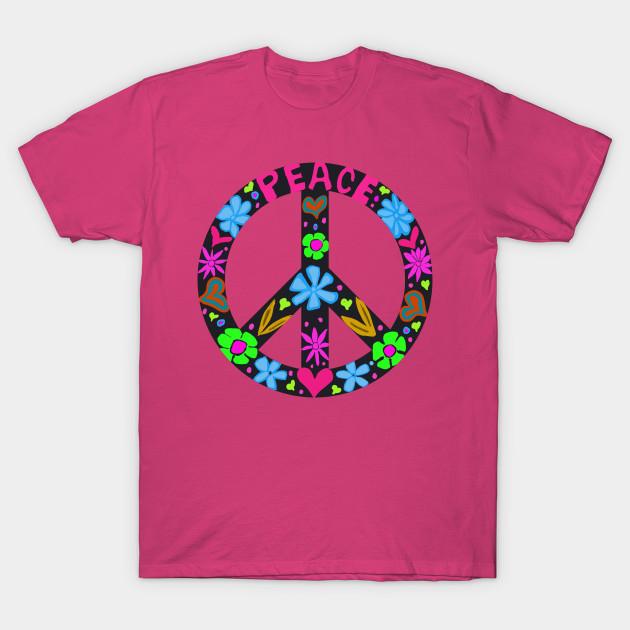 Peace Sign Hearts Flowers Peace Symbol T Shirt Teepublic