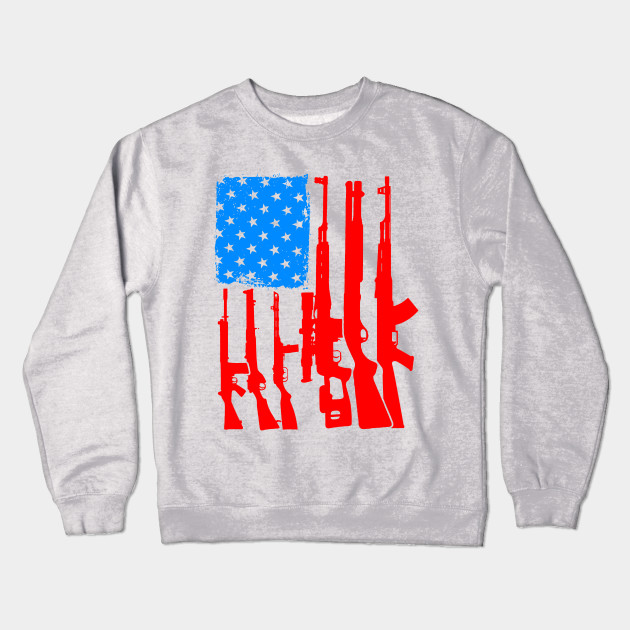 3e9b06706 American Flag With Rifles and Firearms as Strips Graphic Gun Crewneck  Sweatshirt