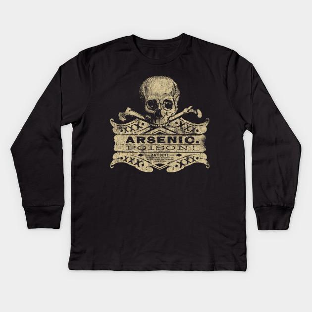 96359796 Vintage Arsenic Skull Poison Label Halloween Tee Kids Long Sleeve T-Shirt