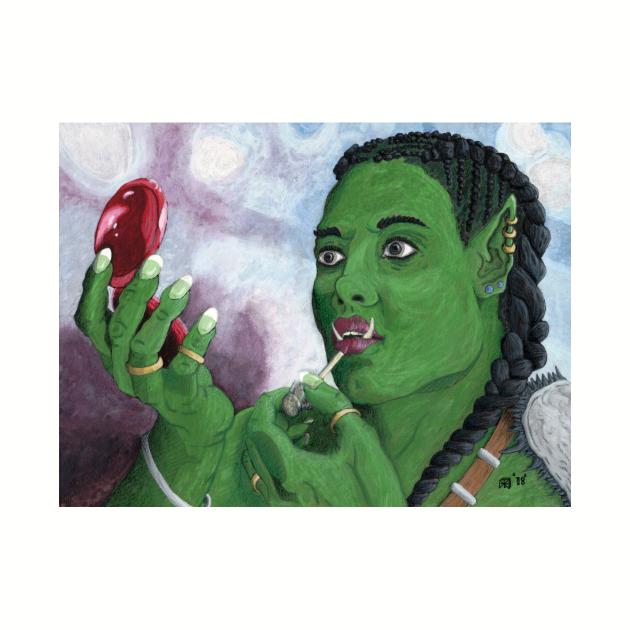 Female Orc Applying War Paint