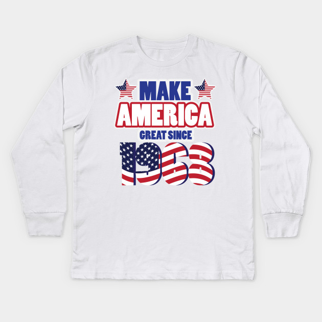 Funny 50th Birthday America Great Since 1968 Kids Long Sleeve T Shirt