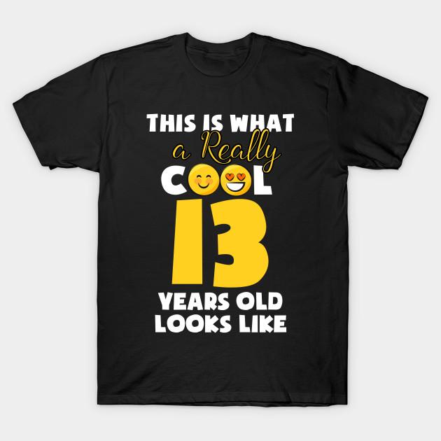Kids Emojicon 13th Birthday Gifts 13 Year Old Girls T Shirt Kids