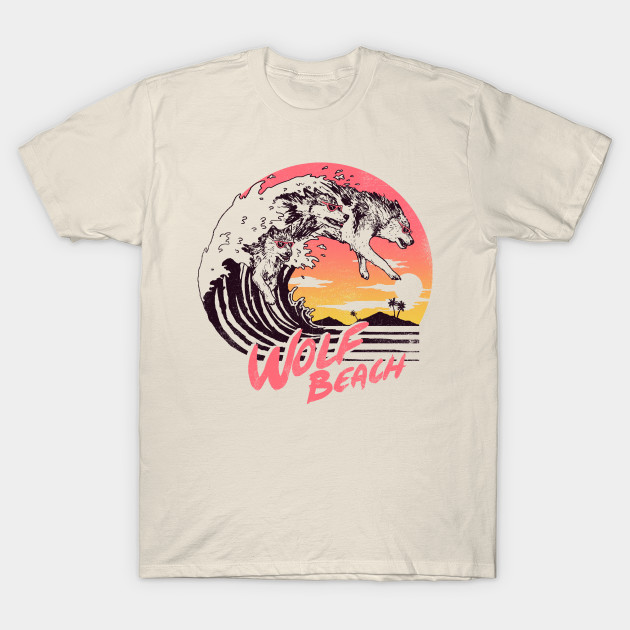 Wolf Beach - 80s - T-Shirt | TeePublic