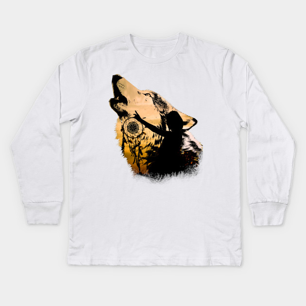 516dd861 Lonely Wolf - Wolf - Kids Long Sleeve T-Shirt | TeePublic