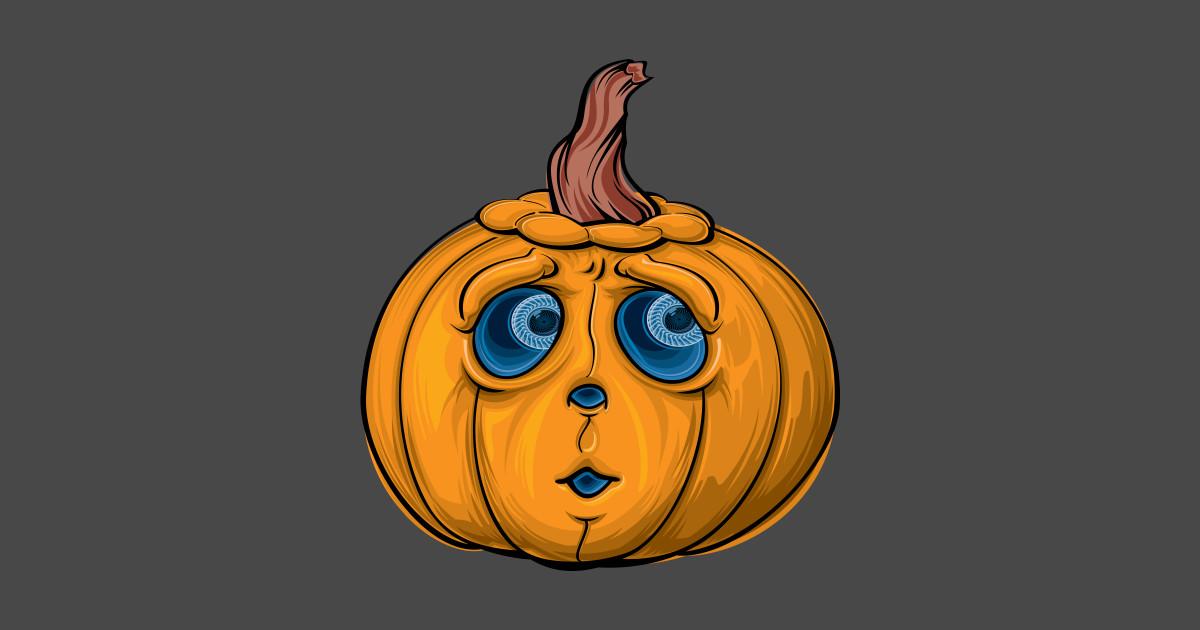 Scared Orange Pumpkin - Jack O Lantern - T-Shirt | TeePublic
