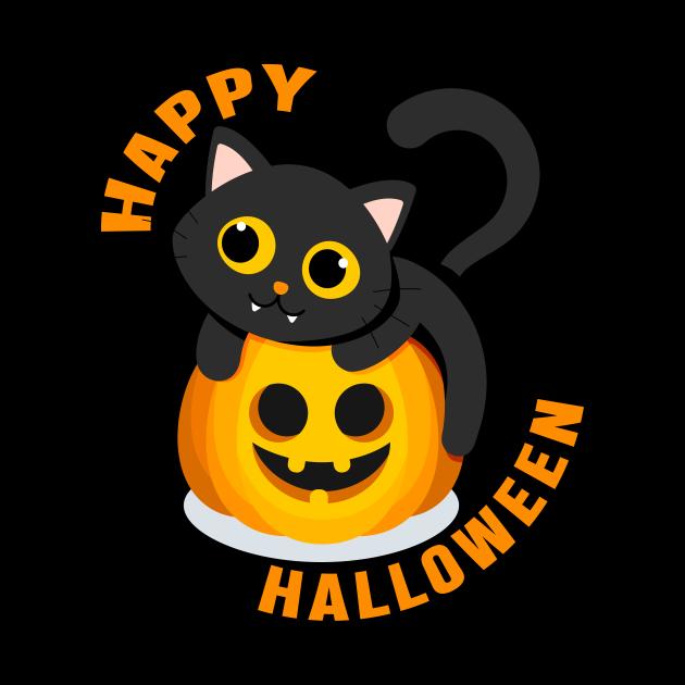 HAPPY HALLOWEEN CAT PUMPKIN