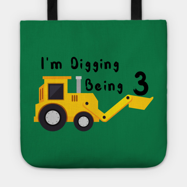 3rd Birthday Bulldozer Construction Party 3 Year Old Boy Toddler Kids T Shirt Tote