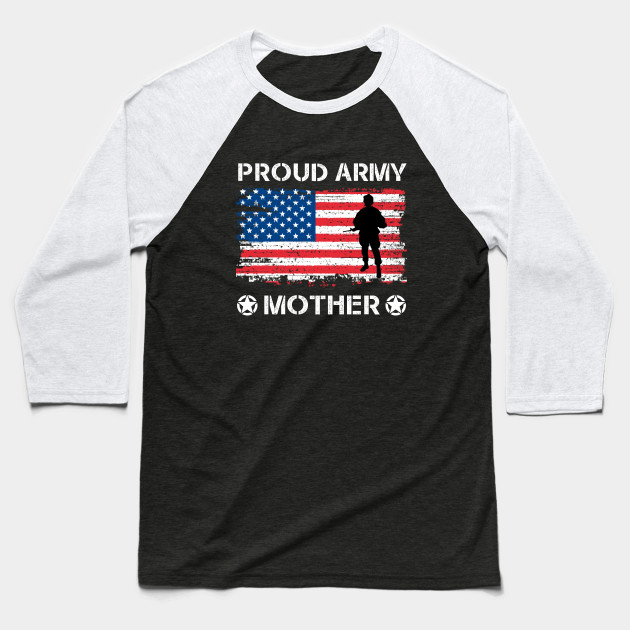 US Flag Proud Army Mother Apparel Military Mother Pride Baseball T-Shirt