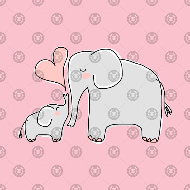 Mom and Baby Elephant with Pink Heart - Elephant - Kids T ...