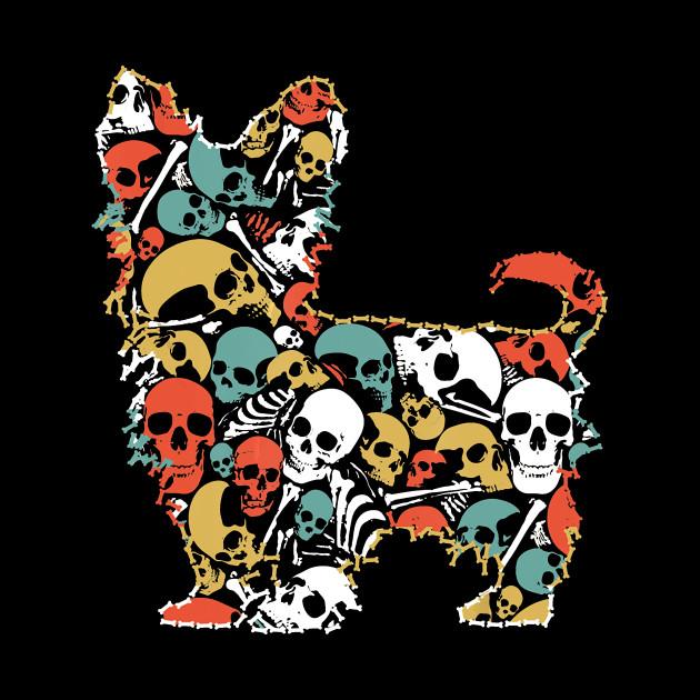 Skeleton Skull Vintage Retro Style Yorkshire Terrier T Shirt