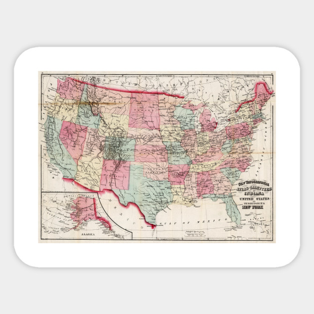 Vintage United States Map 1870 United States Map Sticker
