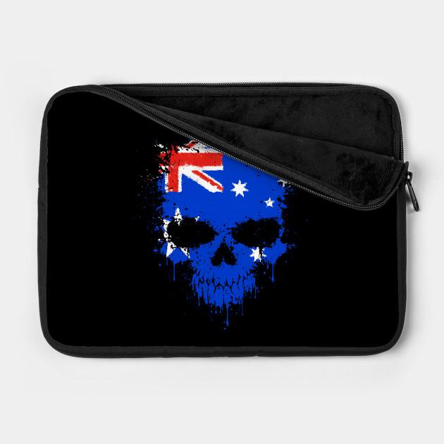 Chaotic Australian Flag Splatter Skull