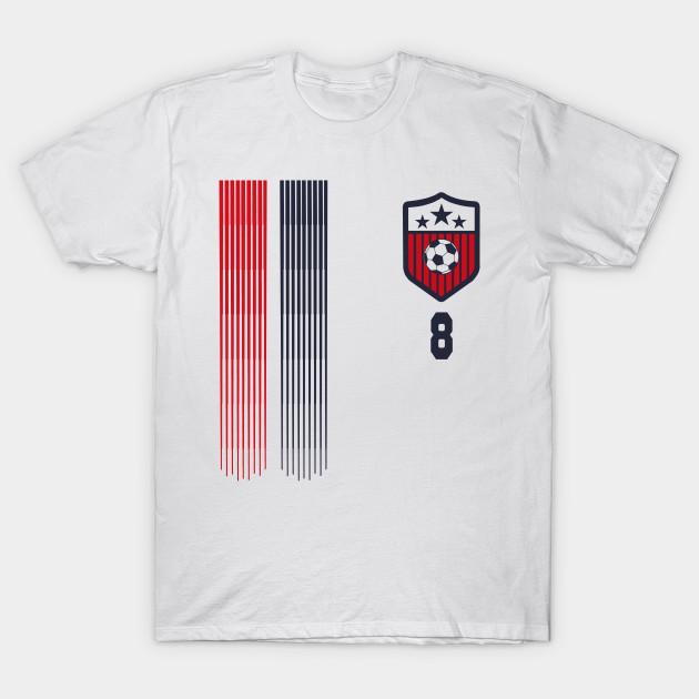 newest 4e218 56fd2 USA Women Soccer T Shirt #8 Julie Ertz American Flag Soccer Player Team  Futbol