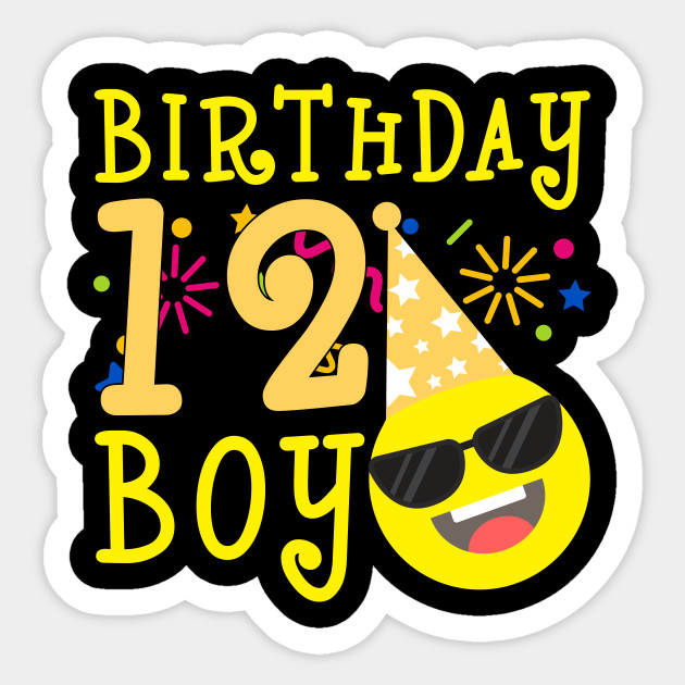 Kids Emoji 12th Birthday Boy T Shirt Fun 12 Years Old Gift