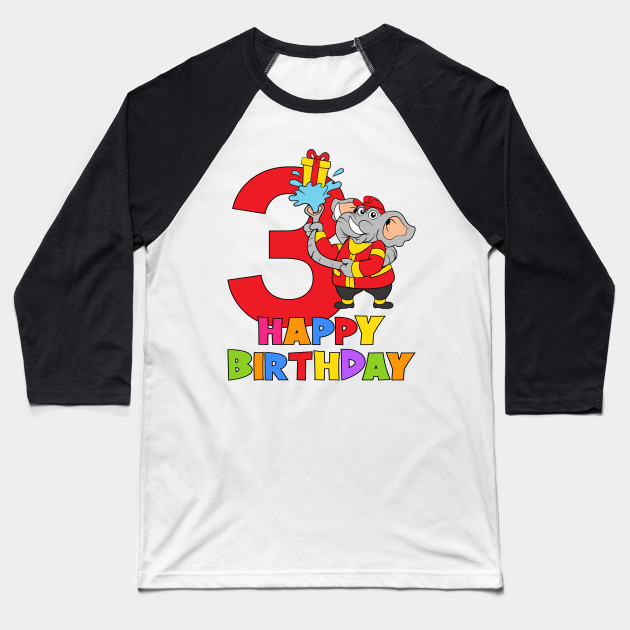 3rd Birthday Party 3 Year Old Three Years Baseball T Shirt