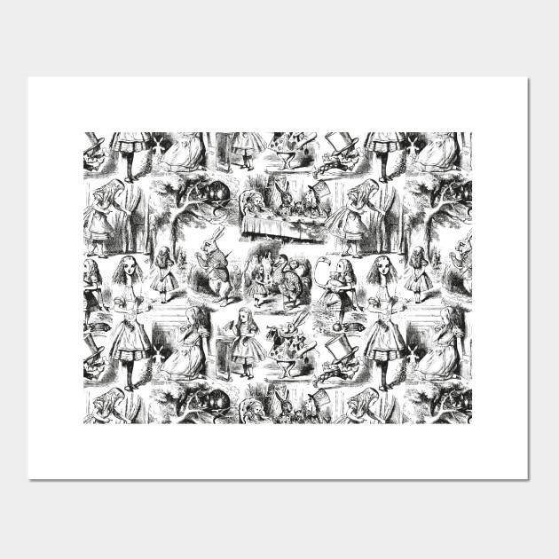 Alice In Wonderland Toile De Jouy Pattern Black And White Alice In Wonderland Posters And Art Prints Teepublic
