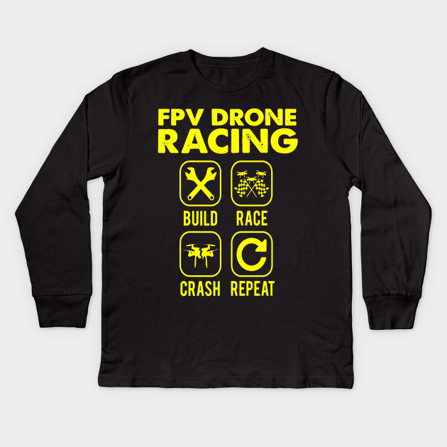 b3209306 FUNNY FPV DRONE RACING T-SHIRT Quad Copter RC Gift Kids Long Sleeve T-Shirt