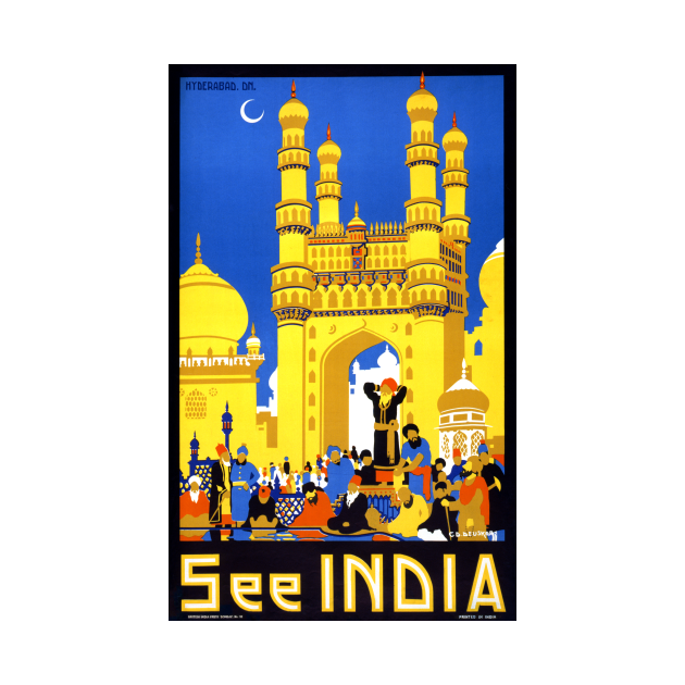 Vintage Travel Poster See India Hyderabad