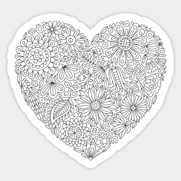 Flowers Heart Coloring Page, Flourish and Bloom