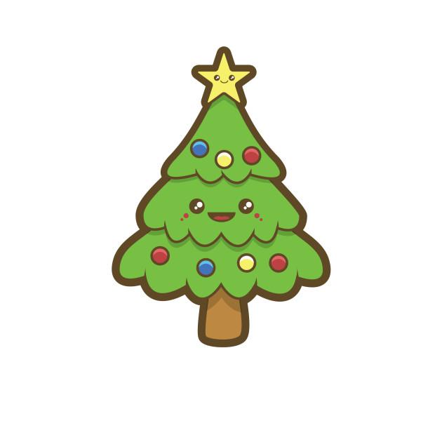 Kawaii Christmas Tree - Childrens - T-Shirt | TeePublic