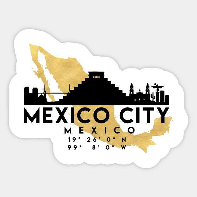 Mexico City Mexico Skyline Map Art Mexico Sticker Teepublic