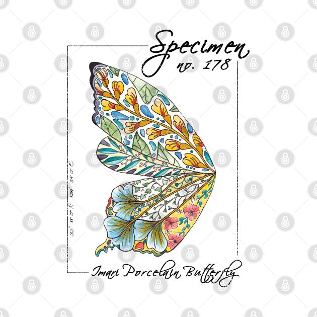 Imari Porcelain Butterfly   Vintage Modern Zoological Print