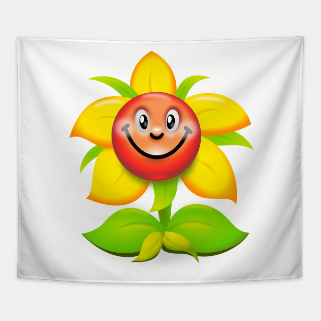 Funny Cartoon Smiling Sunflower