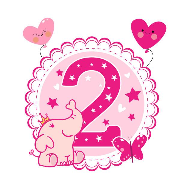 Second Birthday Girls Elephant 2nd 2.Girl Daughter Niece