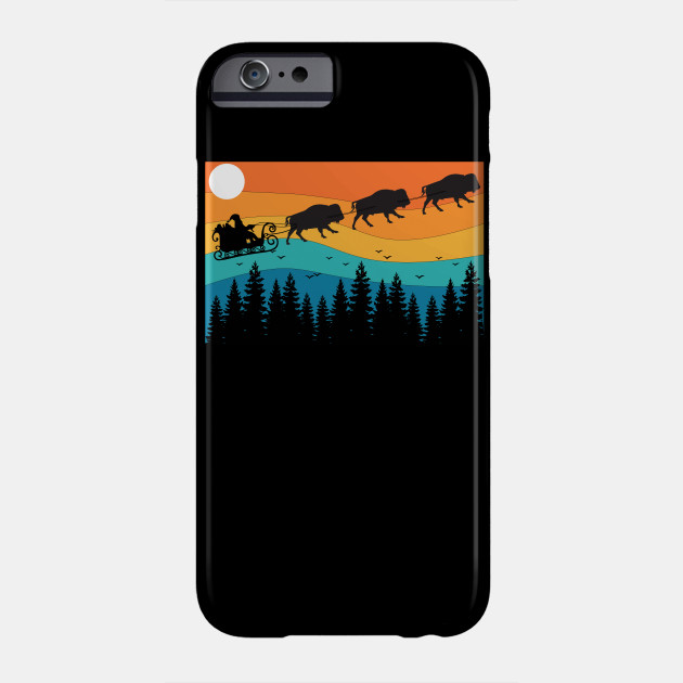 Retro Christmas National Park Bison Buffalo Xmas Christmas Phone Case
