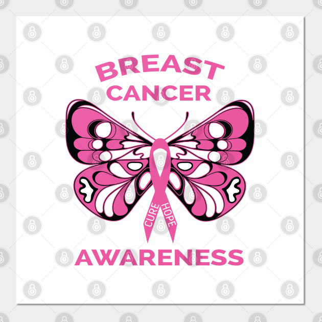 Breast Cancer Awareness Butterfly Pink Ribbon Breast Cancer Awareness Posters And Art Prints Teepublic