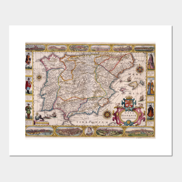 Map Of Spain For Printing.Vintage Map Of Spain 1610