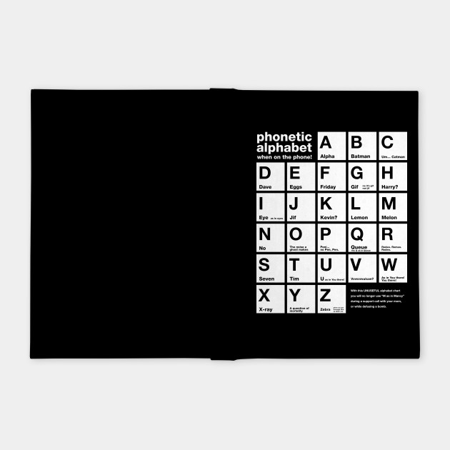 Funny Phonetic Alphabet Chart When On The Phone Phonetic Notebook Teepublic