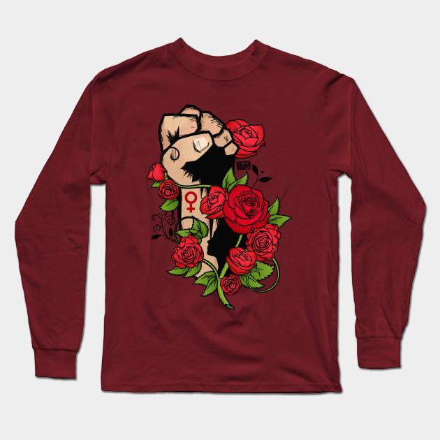 c1fc8f05ca9e Ornamental Rose Resist Hands Up Fist Women s Rights Long Sleeve T-Shirt