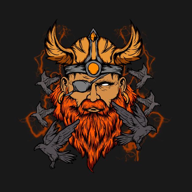 Odin the Norse Mythology Viking God & His Ravens