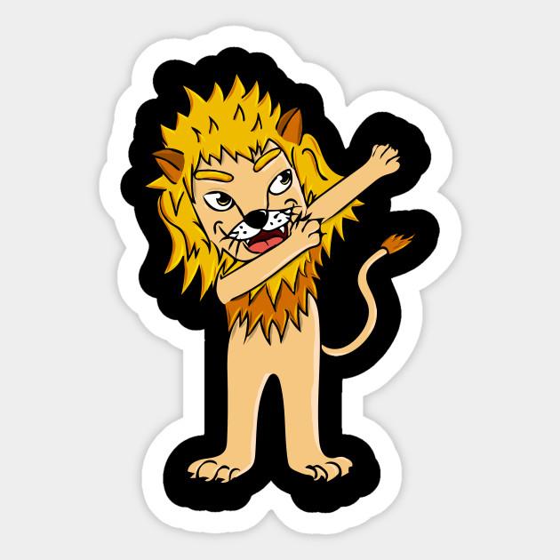 Dabbing Lion Animal Funny Vinyl Sticker