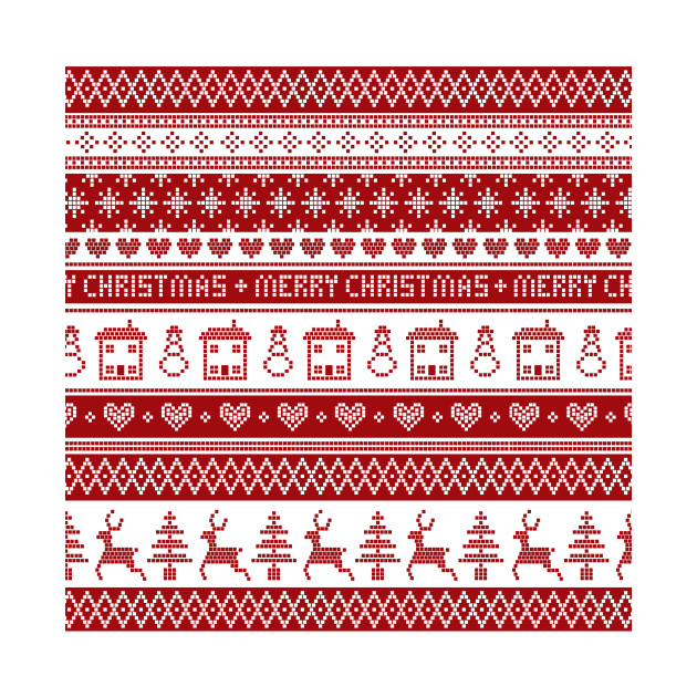 Christmas Sweater Pattern.Nordic Fair Isle Christmas Pattern