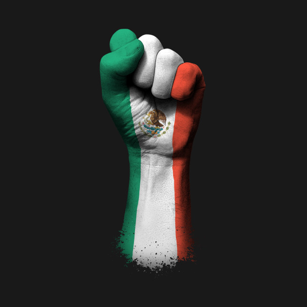 Flag of Mexico on a Raised Clenched Fist