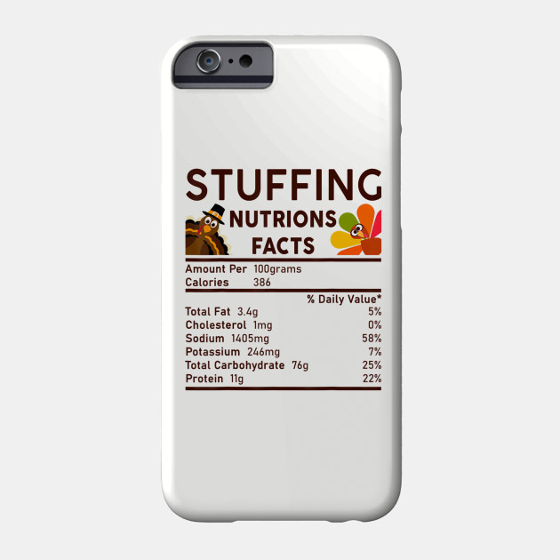 Stuffing Nutrition Facts Funny Thanksgiving S Men Women T Phone Case