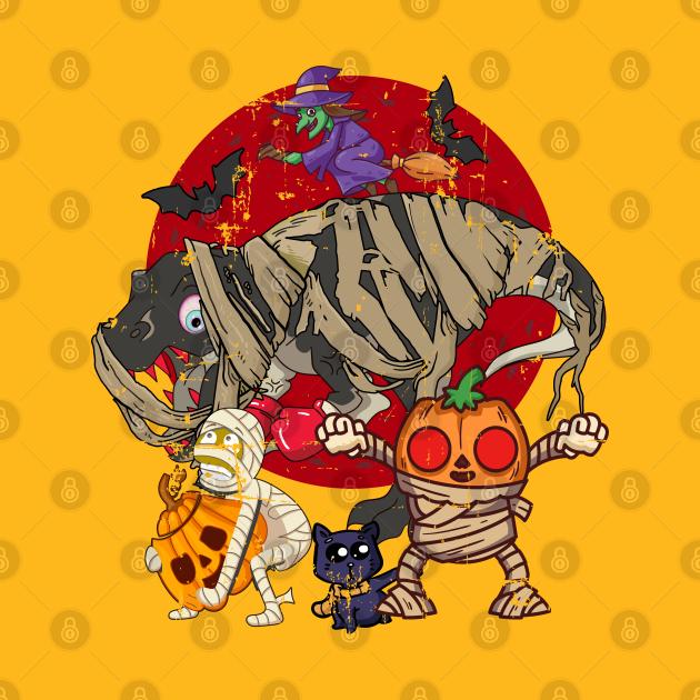 Dinosaur Mummy Pumpkin Cat Witch Halloween Crew Party